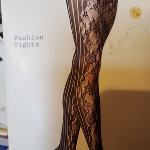 NWT Black Net Floral Tights